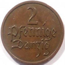 ДАНЦИГ 2 ПФЕННИГА 1937 г. РЕДКАЯ !