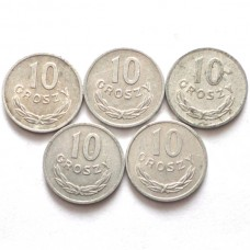 ПОЛЬША 10 ГРОШ 1961-1979 г. 5 монет.