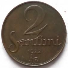 ЛАТВИЯ 2 САНТИМА 1922 г. СОСТОЯНИЕ !!!