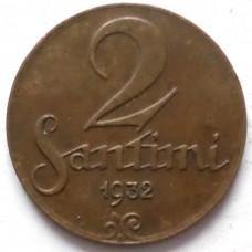 ЛАТВИЯ 2 САНТИМА 1932 г. СОСТОЯНИЕ !!!