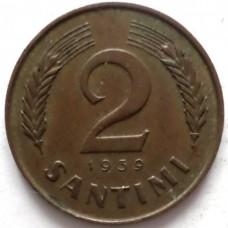 ЛАТВИЯ 2 САНТИМА 1939 г. СОСТОЯНИЕ !!!