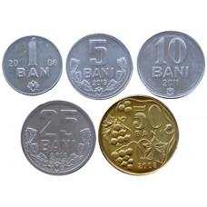 МОЛДОВА НАБОР 5 МОНЕТ 2008-2013 г. UNC!
